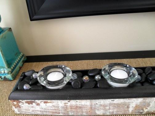 DIY votive holder using repurposed wood