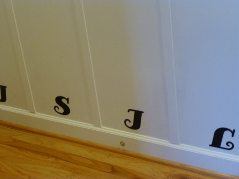 Entryway organization Initials closeup